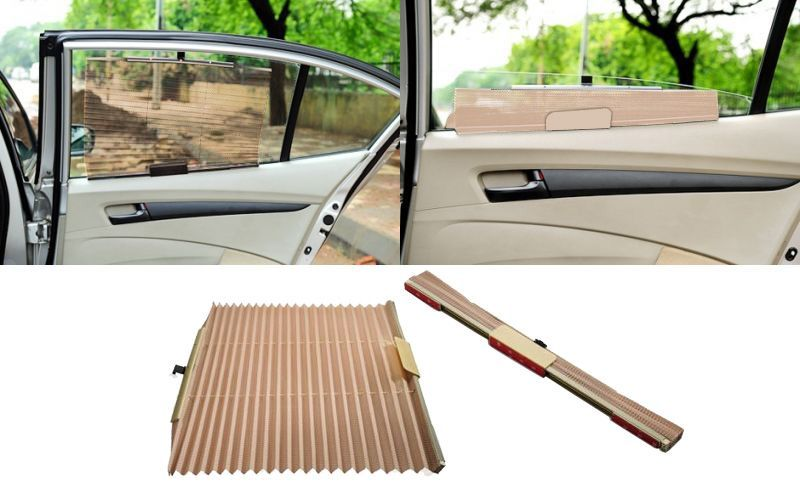 CAR CURTAIN AUTOMATIC SIDE WINDOW SUN SHADE(BEIGE) FOR FORD ECOSPORTS
