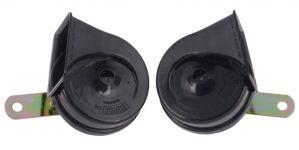 MINDA 12V TP8 TRUMPET HORN SET - HARMONY BLACK FOR FIAT LINEA