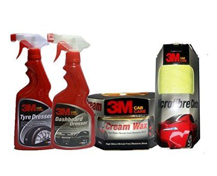 3M Car Care Kit Microfibre Cloth+Cream Wax+DashBoard Dresser(500ml)+Tyre Dresser(500ml)