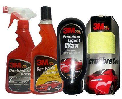 3M Car Care Kit Microfibre Cloth+Liquid Wax(200ml)+Shampoo(500ml)+DashBoard Dresser(500ml)