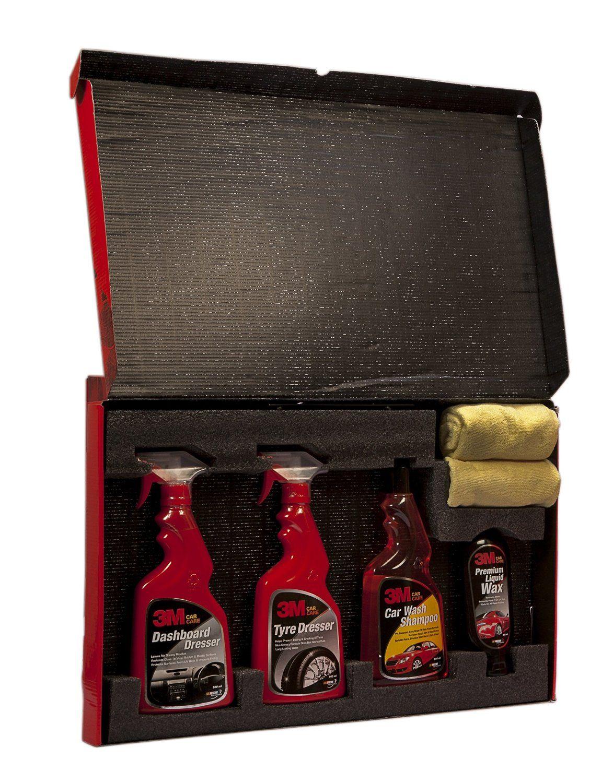 3M Car Care Kit Microfibre Cloth+Liquid Wax(200ml)+Shampoo(500ml)+DashBoard Dresser(500ml)+Tyre Dresser(500ml)