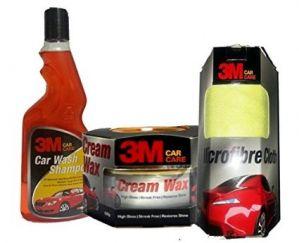 3M Car Care Kit Microfibre Cloth+Cream Wax+Shampoo(500ml)