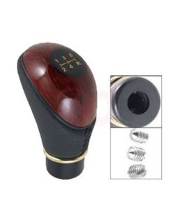 Type R Leatherite Wooden Finished Gear Knob - Black