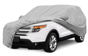 SILVER CAR BODY COVER FOR MARUTI BREZZA